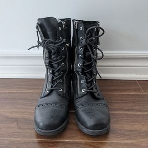 Black Combat Boots with zip on the side